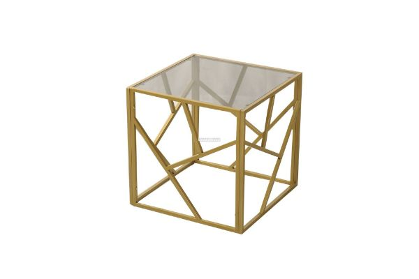 Picture of CLIO SQUARE GREY GLASS SIDE TABLE *GOLD