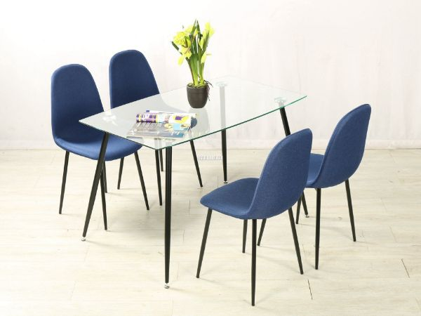 Picture of EVERLY  5PC Dining Set  WITH BLUE CHAIRS