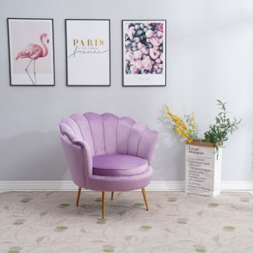 Picture of EVELYN CURVED FLARED ACCENT CHAIR* VIOLET VELVET