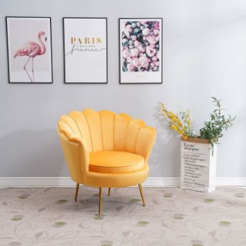 Picture of EVELYN CURVED FLARED ACCENT CHAIR* YELLOW VELVET