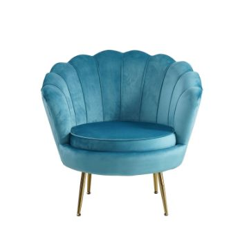 Picture of EVELYN CURVED FLARED ACCENT CHAIR* BLUE VELVET
