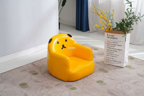 Picture of PAW KIDS STOOL *PU LEATHER IN YELLOW