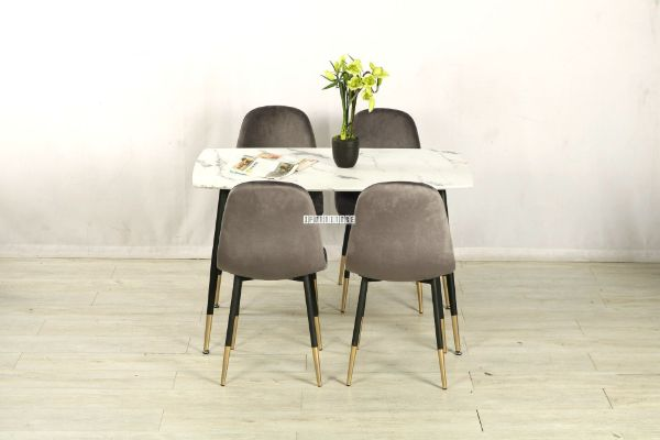 Picture of Bijok 120 5pc Dining Set *White Marble Finishing
