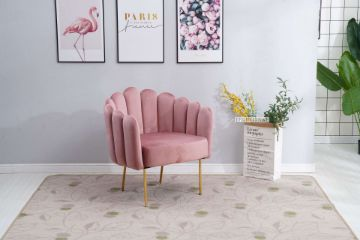 Picture of Liston CURVED FLARED ACCENT CHAIR* PINK  VELVET