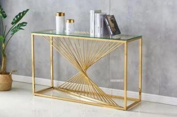 Picture of Augusta Rectangle Clear Glass Hall Table * Gold