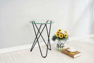 Picture of HAZLEWOOD Round Clear Glass Side Table *Black Frame