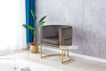 Picture of ZENA Curved Accent Chair *Grey Velvet