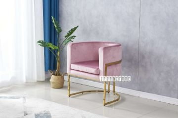 Picture of ZENA Curved Accent Chair *Pink Velvet
