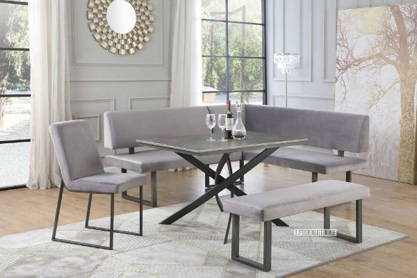 Picture of Bristol Dining Set with Sofa * Light Grey