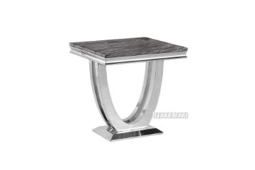 Picture of NUCCIO MARBLE TOP STAINLESS STEEL END TABLE *DARK GREY