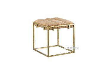 Picture of CANARY Gold Frame Foot Stool *Beige Velvet