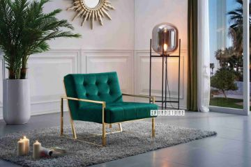 Picture of THEO Gold Stainless Lounge Chair *Green Velvet