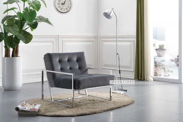 Picture of THEO Silver Stainless Lounge Chair *Grey Velvet