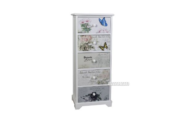 Picture of FLORIST Painted Cabinet With 5 Drawers *White