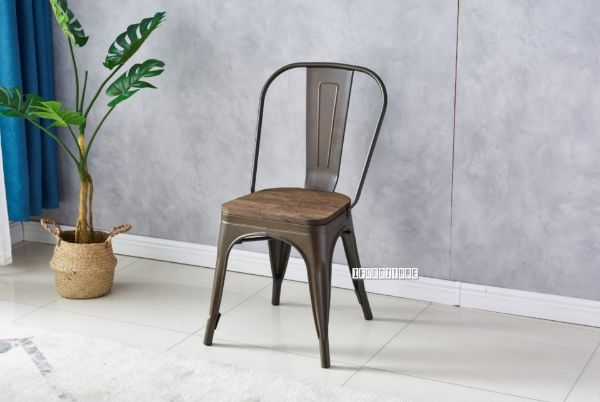 Picture of TOLIX Replica Dining Chair With Solid Rustic Elmwood *Bronze Frame