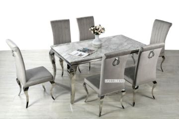 Picture of AITKEN 160 Marble Top Stainless 7PC Dining Set *Light Grey Velvet