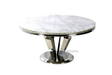 Picture of NUCCIO 150 Marble Top Stainless Round Dining Table *Light Grey