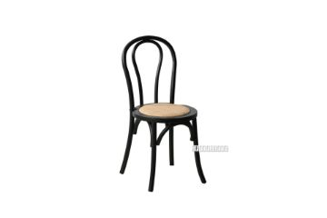 Picture of RAYMON Solid Beech Dining Chair *Black WITH RATTAN SEAT