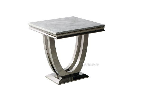 Picture of NUCCIO MARBLE TOP STAINLESS STEEL END TABLE *Light GREY