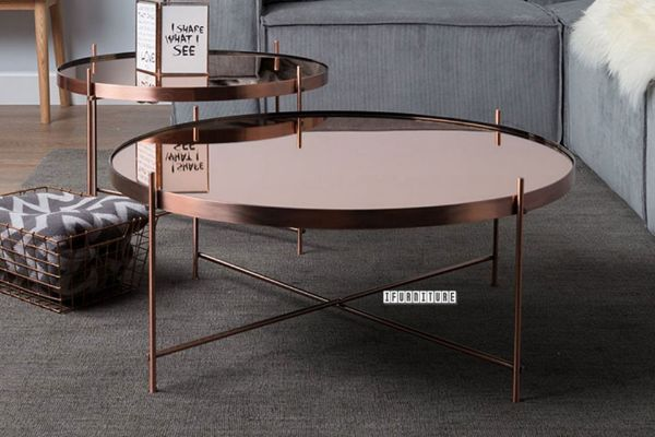 Picture of TIARA Mirror Glass Top 2 Nesting Tables *Rose Gold