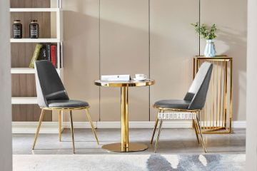 Picture of SYNE D80 Marble Top Golden Stainless Steel Frame 3PC Dining Set *Grey