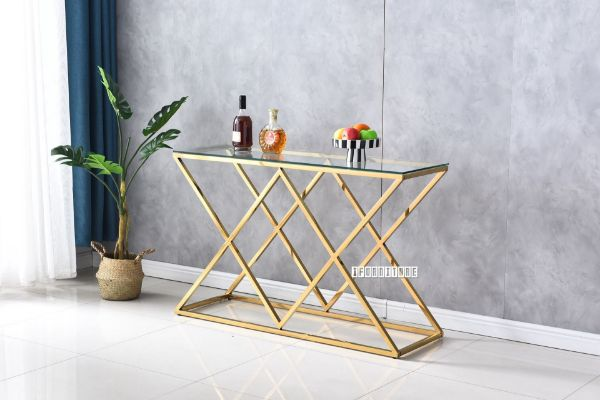 Picture of DIAMOND 120 Glass Top Console Table *Gold Stainless