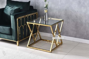 Picture of DIAMOND 55 Glass Top Side Table*Gold Stainless