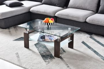 Picture of HORIZON Glass Coffee Table *Walnut COLOR