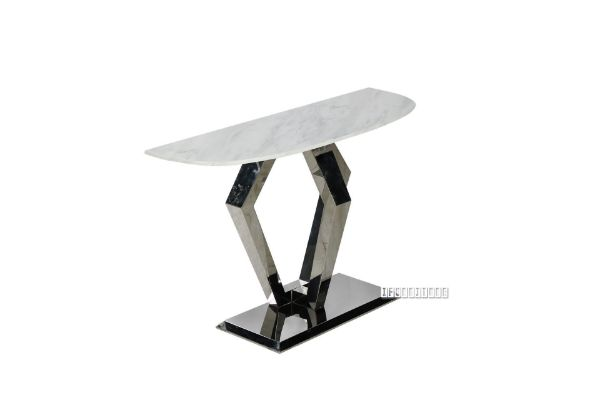 Picture of NUCCIO 150 Half Moon MARBLE TOP STAINLESS STEEL CONSOLE TABLE