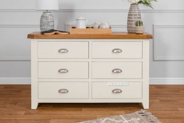 Picture of COCAMO 6 Drawer Oak Top Chest *Grey