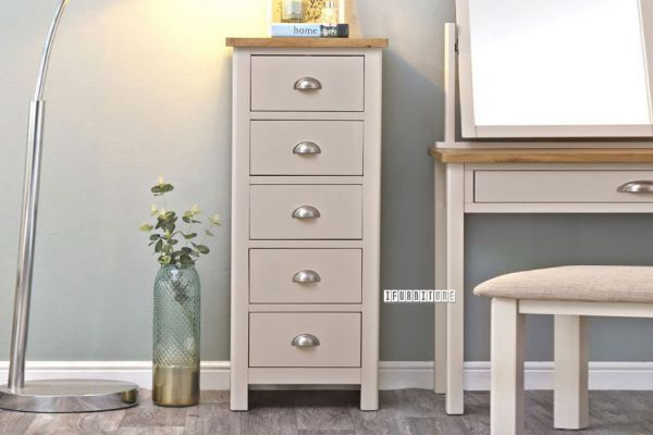 Picture of COCAMO 5 Drawer Oak Top Narrow Chest *Grey