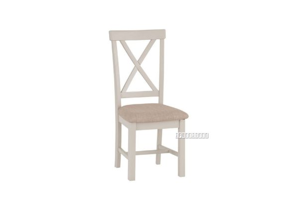 Picture of COCAMO Cross Back Fabric Seat Oak Dining Chair *Grey