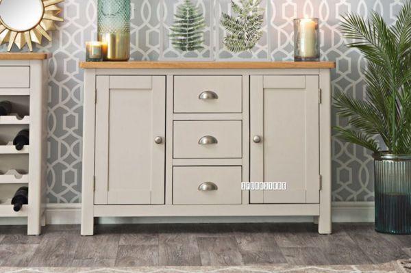 Picture of COCAMO 2 Door 3 Drawer Oak Top Large Sideboard *Grey