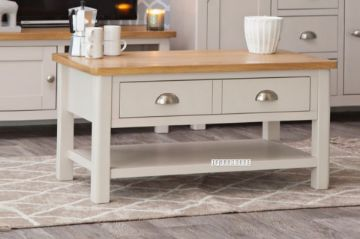 Picture of COCAMO 90 Oak Top 2 Drawer Large Coffee Table *Grey