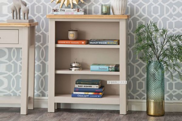 Picture of COCAMO Oak Top Small Wide Bookshelf *Grey