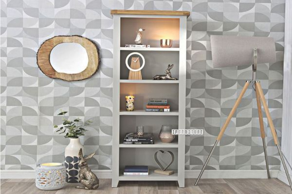 Picture of COCAMO Oak Top Large Bookshelf *Grey