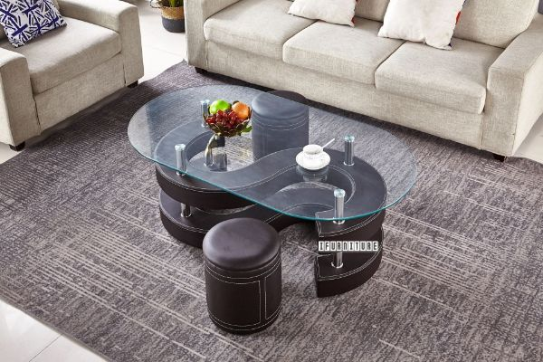 Picture of FINN Glass Top Coffee Table Set With Stool *Brown