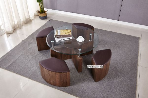 Picture of SOLO Glass Top Space Saver Coffee Table / Set *Brown