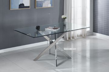 Picture of DALLAS 160 Glass top Stainless Dining Table *Silver