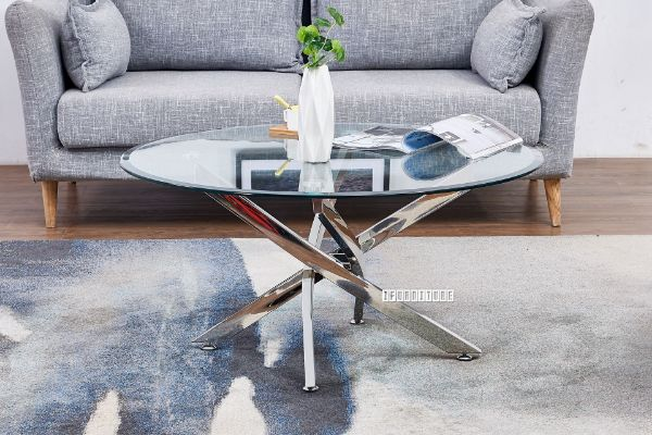 Picture of DALLAS Glass top Stainless Round Coffee Table *Silver