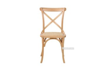 Picture of ALBION Solid Beech CROSS BACK DINING CHAIR *Natural with Rattan Seat