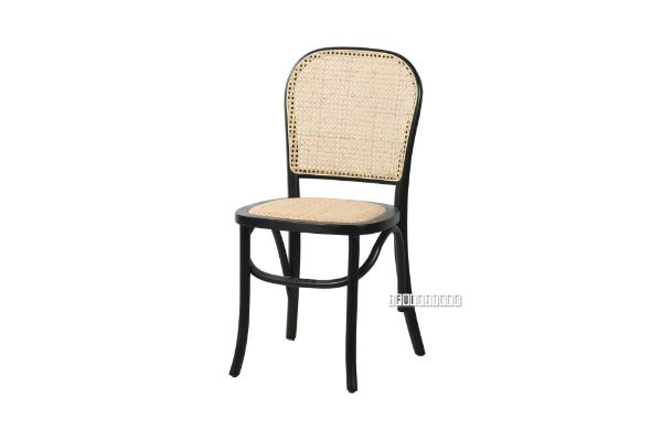 Picture of SYDNEE Solid Beech Rattan Back and Seat Dining Chair *Black