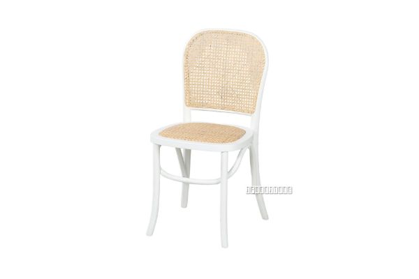 Picture of SYDNEE Solid Beech Rattan Back and Seat Dining Chair *White
