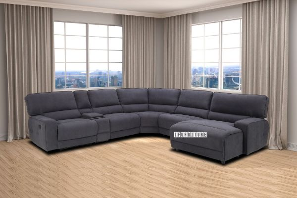 Picture of HENSLEY Sectional Reclining Modular Fabric Sofa With Storage and Cup Holder *Charcoal