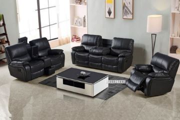 Picture of PASADENA RECLINING SOFA RANGE IN AIR LEATHER *BLACK