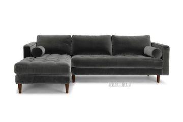 Picture of FAVERSHAM Fabric Sectional Sofa *Grey Velvet