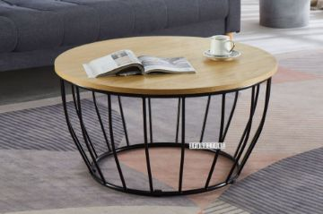 Picture of HENMAN 80 Round Coffee Table *Oak and Black