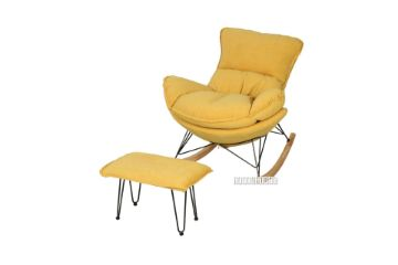 Picture of LOBSTER Fabric Rocking Chair With Footstool *Yellow