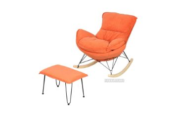 Picture of LOBSTER Fabric Rocking Chair With Footstool *Salamander Orange