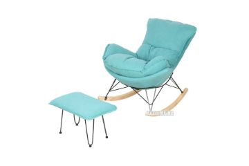 Picture of LOBSTER Fabric Rocking Chair With Footstool *Blue